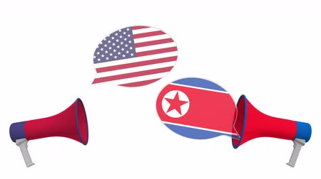 debata : Speech bubbles with flags of North Korea and the USA. Intercultural dialogue or international talks related 3D animation