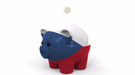 kuruş : Coins fall into piggy bank painted with flag of the Czech Republic. National banking system or savings related conceptual 3D animation