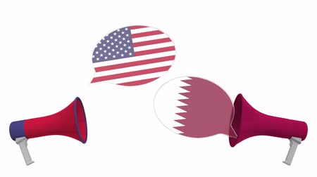 political speech : Speech bubbles with flags of Qatar and the USA. Intercultural dialogue or international talks related 3D animation