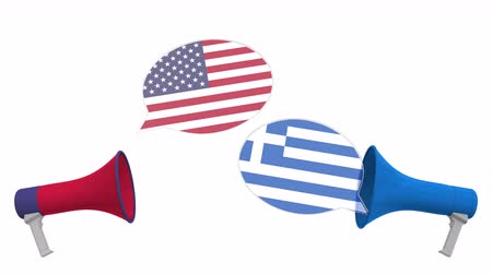 debata : Speech bubbles with flags of Greece and the USA. Intercultural dialogue or international talks related 3D animation Dostupné videozáznamy