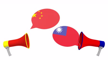 political speech : Speech bubbles with flags of Taiwan and China and loudspeakers. Intercultural dialogue or international talks related 3D animation Stock Footage