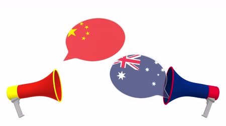 debata : Flags of Australia and China on speech balloons from megaphones. Intercultural dialogue or international talks related 3D animation