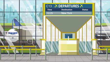 キャプション : Airport departure board with New York City caption. Travel in the United States related loopable cartoon animation