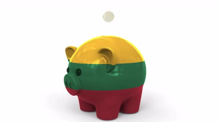 penny : Coins fall into piggy bank painted with flag of Lithuania. National banking system or savings related conceptual 3D animation Stock Footage