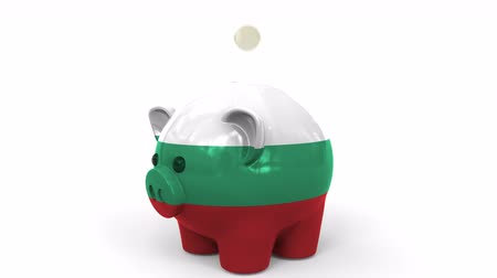 kuruş : Coins fall into piggy bank painted with flag of Bulgaria. National banking system or savings related conceptual 3D animation