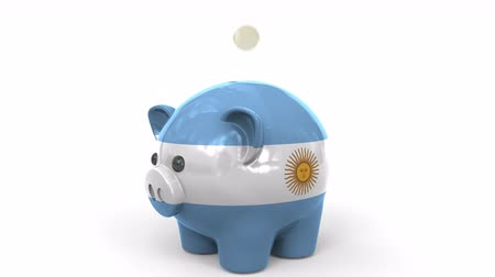 penny : Coins fall into piggy bank painted with flag of Argentina. National banking system or savings related conceptual 3D animation