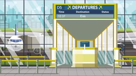gangway : Airport departure board with Essen caption. Travel in Germany related loopable cartoon animation