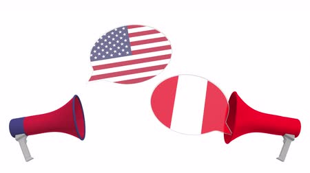 vita : Speech bubbles with flags of Peru and the USA. Intercultural dialogue or international talks related 3D animation