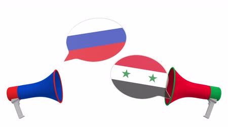 syrian : Flags of Syria and Russia on speech bubbles with loudspeakers. Intercultural dialogue or international talks related 3D animation
