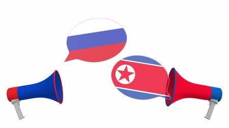 мегафон : Speech bubbles with flags of North Korea and Russia. Intercultural dialogue or international talks related 3D animation