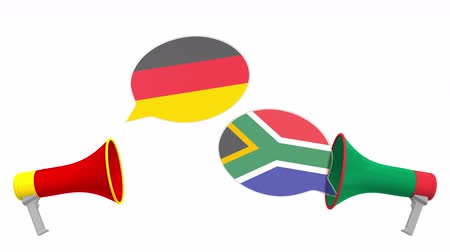 debata : Speech bubbles with flags of South africa and Germany. Intercultural dialogue or international talks related 3D animation Dostupné videozáznamy