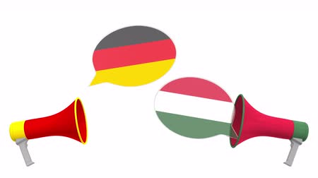 debat : Speech bubbles with flags of Hungary and Germany. Intercultural dialogue or international talks related 3D animation