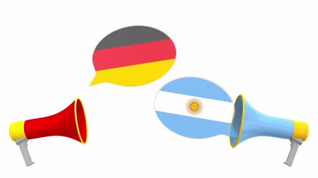 немецкий : Speech bubbles with flags of Argentina and Germany. Intercultural dialogue or international talks related 3D animation Стоковые видеозаписи