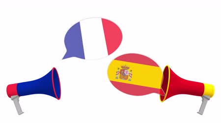 debata : Speech bubbles with flags of Spain and France. Intercultural dialogue or international talks related 3D animation