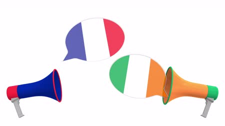 political speech : Flags of Ireland and France on speech balloons from megaphones. Intercultural dialogue or international talks related 3D animation