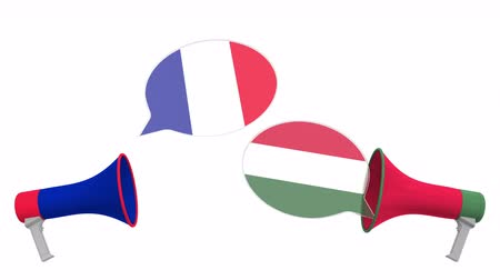 debata : Speech bubbles with flags of Hungary and France. Intercultural dialogue or international talks related 3D animation