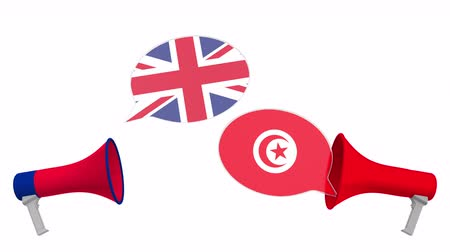 tunezja : Speech bubbles with flags of Tunisia and the United Kingdom. Intercultural dialogue or international talks related 3D animation