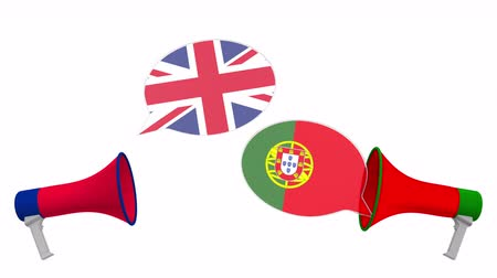 debata : Speech bubbles with flags of Portugal and the United Kingdom. Intercultural dialogue or international talks related 3D animation