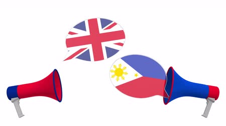 mutuo : Speech bubbles with flags of the Philippines and the United Kingdom. Intercultural dialogue or international talks related 3D animation Filmati Stock