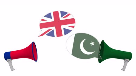 debata : Speech bubbles with flags of Pakistan and the United Kingdom. Intercultural dialogue or international talks related 3D animation