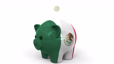 kuruş : Coins fall into piggy bank painted with flag of Mexico. National banking system or savings related conceptual 3D animation