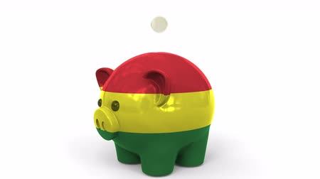 penny : Coins fall into piggy bank painted with flag of Bolivia. National banking system or savings related conceptual 3D animation