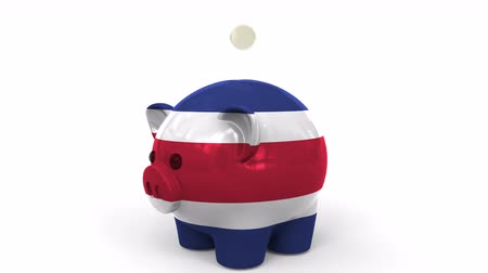 penny : Coins fall into piggy bank painted with flag of Costa Rica. National banking system or savings related conceptual 3D animation
