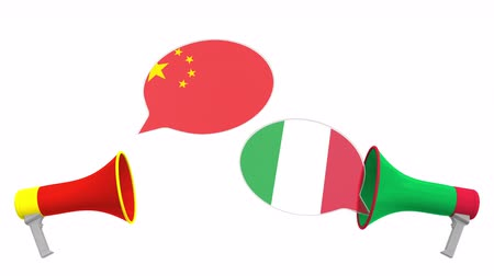 political speech : Flags of Italy and China on speech balloons from megaphones. Intercultural dialogue or international talks related 3D animation