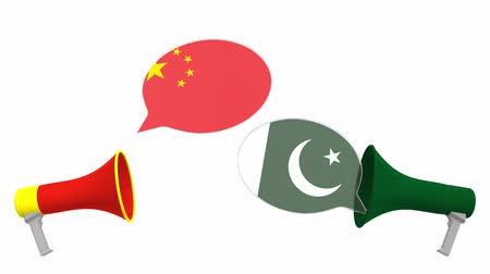 paquistão : Speech bubbles with flags of Pakistan and China. Intercultural dialogue or international talks related 3D animation