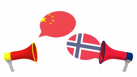 vita : Flags of Norway and China on speech balloons from megaphones. Intercultural dialogue or international talks related 3D animation Stock mozgókép