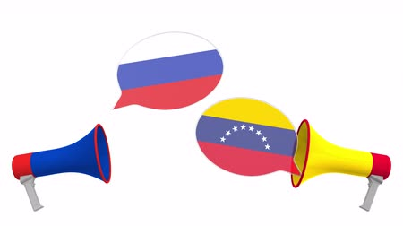 мегафон : Speech bubbles with flags of Venezuela and Russia and loudspeakers. Intercultural dialogue or international talks related 3D animation