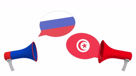 debata : Speech bubbles with flags of Tunisia and Russia. Intercultural dialogue or international talks related 3D animation