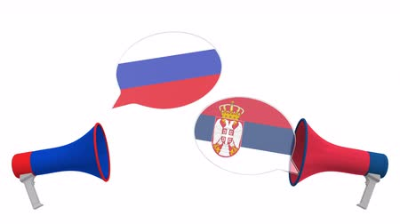 mutuo : Speech bubbles with flags of Serbia and Russia and loudspeakers. Intercultural dialogue or international talks related 3D animation Filmati Stock
