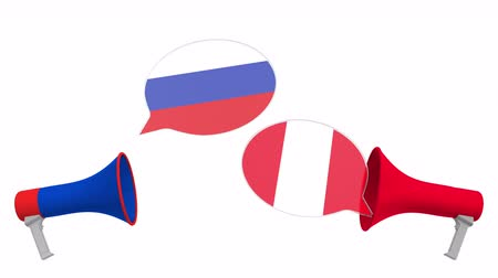 perui : Speech bubbles with flags of Peru and Russia. Intercultural dialogue or international talks related 3D animation