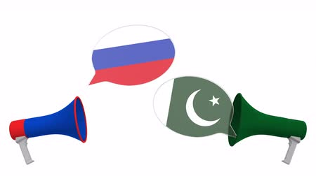 мегафон : Speech bubbles with flags of Pakistan and Russia. Intercultural dialogue or international talks related 3D animation