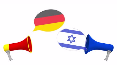 political speech : Flags of Israel and Germany on speech balloons from megaphones. Intercultural dialogue or international talks related 3D animation