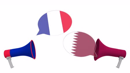 negotiations : Speech bubbles with flags of Qatar and France. Intercultural dialogue or international talks related 3D animation