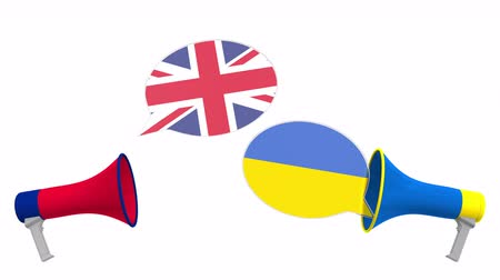 political speech : Flags of Ukraine and the United Kingdom on speech balloons from megaphones. Intercultural dialogue or international talks related 3D animation