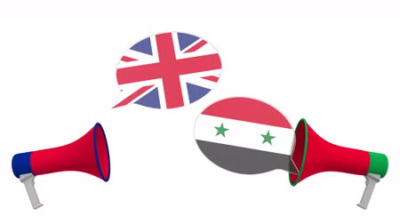 мегафон : Flags of Syria and the United Kingdom on speech bubbles with loudspeakers. Intercultural dialogue or international talks related 3D animation Стоковые видеозаписи