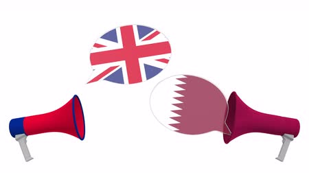 mutuo : Speech bubbles with flags of Qatar and the United Kingdom. Intercultural dialogue or international talks related 3D animation Filmati Stock