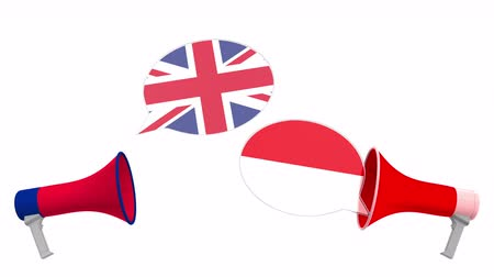 debata : Flags of Indonesia and the United Kingdom on speech bubbles with loudspeakers. Intercultural dialogue or international talks related 3D animation