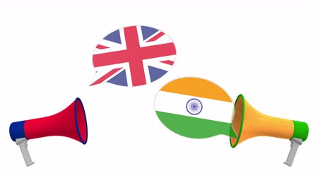 debata : Speech bubbles with flags of India and the United Kingdom. Intercultural dialogue or international talks related 3D animation