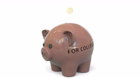 miktar : Money fall into piggy bank with FOR COLLEGE text. Savings related 3D animation Stok Video