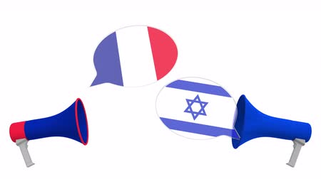 political speech : Flags of Israel and France on speech balloons from megaphones. Intercultural dialogue or international talks related 3D animation