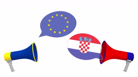 hırvat : Speech bubbles with flags of Croatia and the European Union EU. Intercultural dialogue or international talks related 3D animation Stok Video