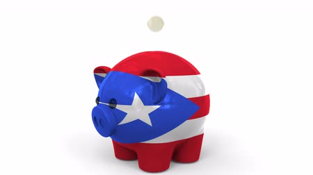 fondo industrial : Coins fall into piggy bank painted with flag of Puerto Rico. National banking system or savings related conceptual 3D animation Archivo de Video