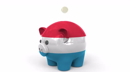 luxemburg : Coins fall into piggy bank painted with flag of Luxembourg. National banking system or savings related conceptual 3D animation Stockvideo