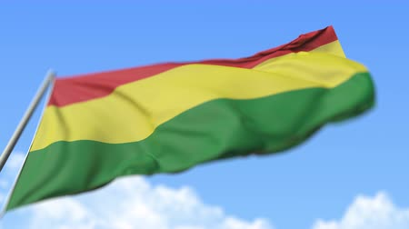 view from below : Flying national flag of Bolivia, low angle view. Loopable realistic slow motion 3D animation