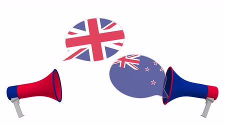 political speech : Speech bubbles with flags of New Zealand and the United Kingdom. Intercultural dialogue or international talks related 3D animation