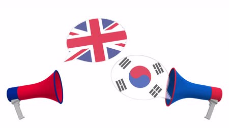 мегафон : Speech bubbles with flags of South Korea and the United Kingdom. Intercultural dialogue or international talks related 3D animation Стоковые видеозаписи
